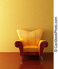 rendre, moderne, 3d, fauteuil
