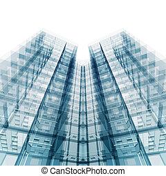 rendre, moderne, bâtiment., bureau, 3d
