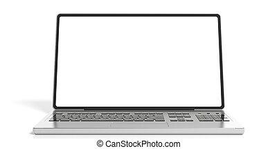 rendre, ordinateur portable, fond blanc, 3d
