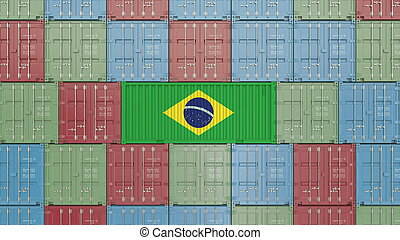 rendre, ou, brésilien, apparenté, importation, exportation, récipient, brazil., drapeau, 3d