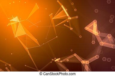rendre, poly, polygonal, fond, bas, résumé, sombre, espace, 3d