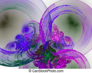 rendre, résumé, bubbles., fond, torus, 3d