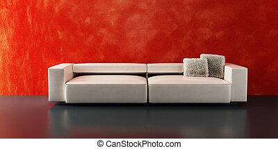 rendre, sofa, moderne, 3d