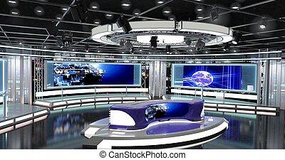 rendre, studio, nouvelles, ensemble télé, 1., 3d