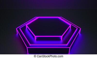 rendre, studio, sombre, néon, lueur, 3d, light., engendré, fond, résumé, informatique, moderne