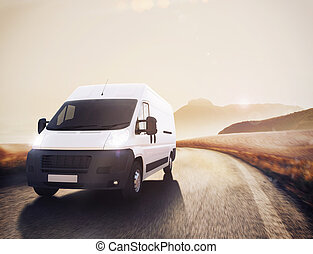 rendre, truck., transport, 3d