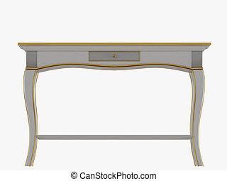 rendre, une, blanc, tiroir, table, fond, 3d