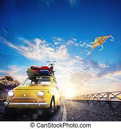 rendre, vacances, route, 3d