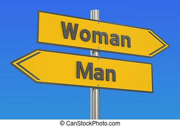 rendre, vs, concept, femme homme, 3d