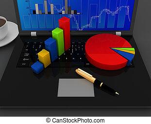 rendu, bureau affaires, illjustration, graphique, concept., diagrammes, clavier, ordinateur portable, 3d