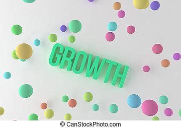 rendu, business, coloré, &, title., words., croissance, communication, typon, conceptuel, 3d, créativité