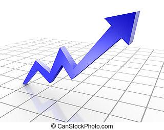 rendu, business, graphique, chart., flèche, conceptuel, 3d