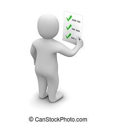 rendu, checklist., illustration., regarder, homme, 3d