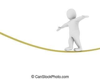 rendu, illustration., équilibrage, rope., homme, 3d