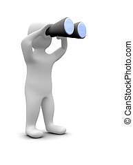 rendu, illustration., binoculars., regarder travers, 3d, homme
