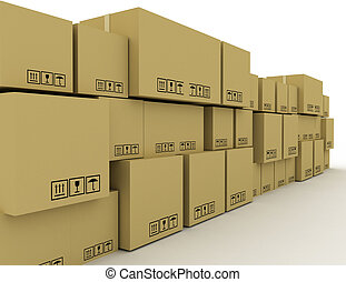 rendu, illustration, boîtes, concept, lot, carton, 3d