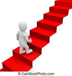 rendu, illustration., escaliers., 3d, homme, moquette rouge