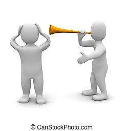 rendu, illustration., oreilles, contre, sien, protéger, vuvuzela, homme, noise., 3d