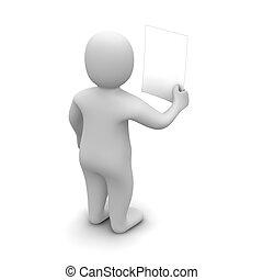 rendu, illustration., regarder, tenue, vide, homme, document., 3d