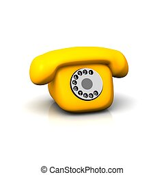 rendu, isolé, illustration, téléphone., white., orange, 3d, retro