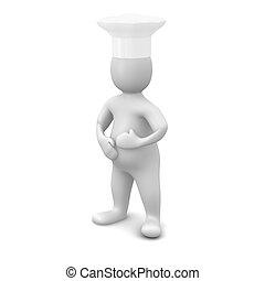 rendu, isolé, illustration, white., cook., 3d