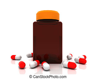 rendu, prescription, renversé, concept., illustration, médecine, bottle., pilules, 3d