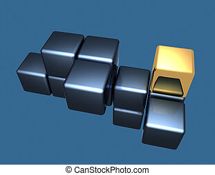 rendu, résumé, illustration, cubes, fond, 3d
