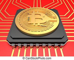 rendu, sur, bitcoin, illustration, arrière-plan., 3d