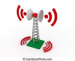 rendu, télécommunication, antenne, illustration, concept, tour, 3d