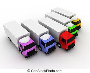 rendu, voiture, illustration, livraison, concept, camion, éditorial, 3d