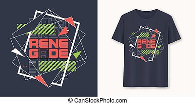 Renegade abstract geometric graphic t-shirt vector design, ...