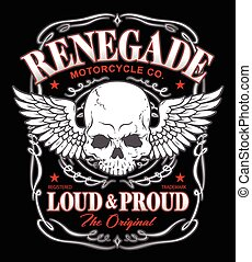 Renegade winged skull graphic - Biker-inspired winged skull...