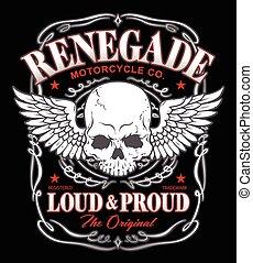 Renegade winged skull graphic - Biker-inspired winged skull...