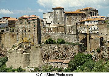 renesans, akwedukt, w, pitigliano, tuscany