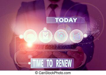 renew., escritura, texto, concepto, continuar, seguro de ...