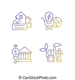 Renewable electrical energy gradient linear vector icons set. Weatherization of house. Global market. Thin line contour symbols bundle. Isolated vector outline illustrations collection