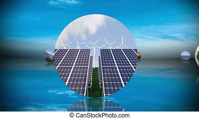 Renewable energy and recycling montage with copy space...