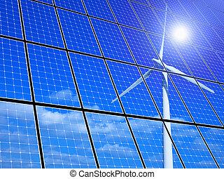 Renewable Energy - Array of solar panels with wind turbine...