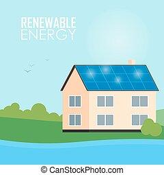 Renewable energy banner. Solar panels on house - Renewable...