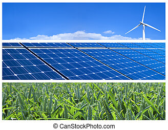 Renewable Energy Banners - Wind turbine, solar panels and...
