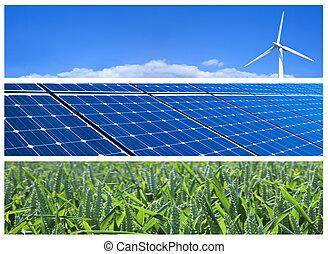 Wind turbine, solar panels and wheat field. Renewable energy banners
