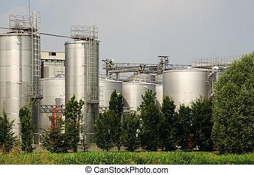 Italy: biodiesel production. Refining and transesterification plant, a process wherein vegetable oils extracted in the plant are turned into biodiesel.