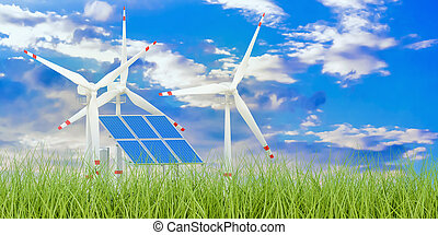 Renewable energy concept, 3D rendering