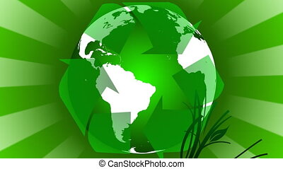 Renewable energy Concept animation witha green earth...