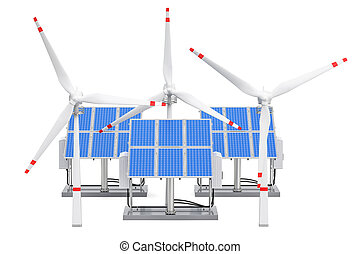 Renewable energy concept. Solar panels and wind turbines, 3D rendering