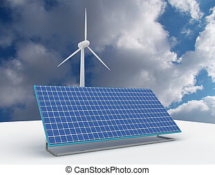Renewable energy concept with grid connections solar panels and wind turbines. 3d rendered illustration