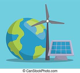 renewable energy design - earth planet and eolic turbine...
