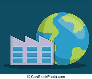 renewable energy design - earth planet and factory icon over...
