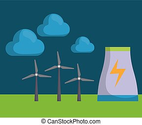 renewable energy design - eolic turbines and clouds icon...