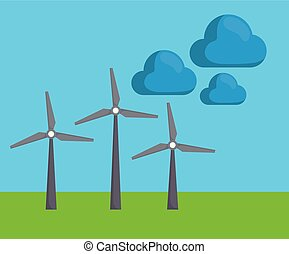 renewable energy design - eolic turbines and clouds over...